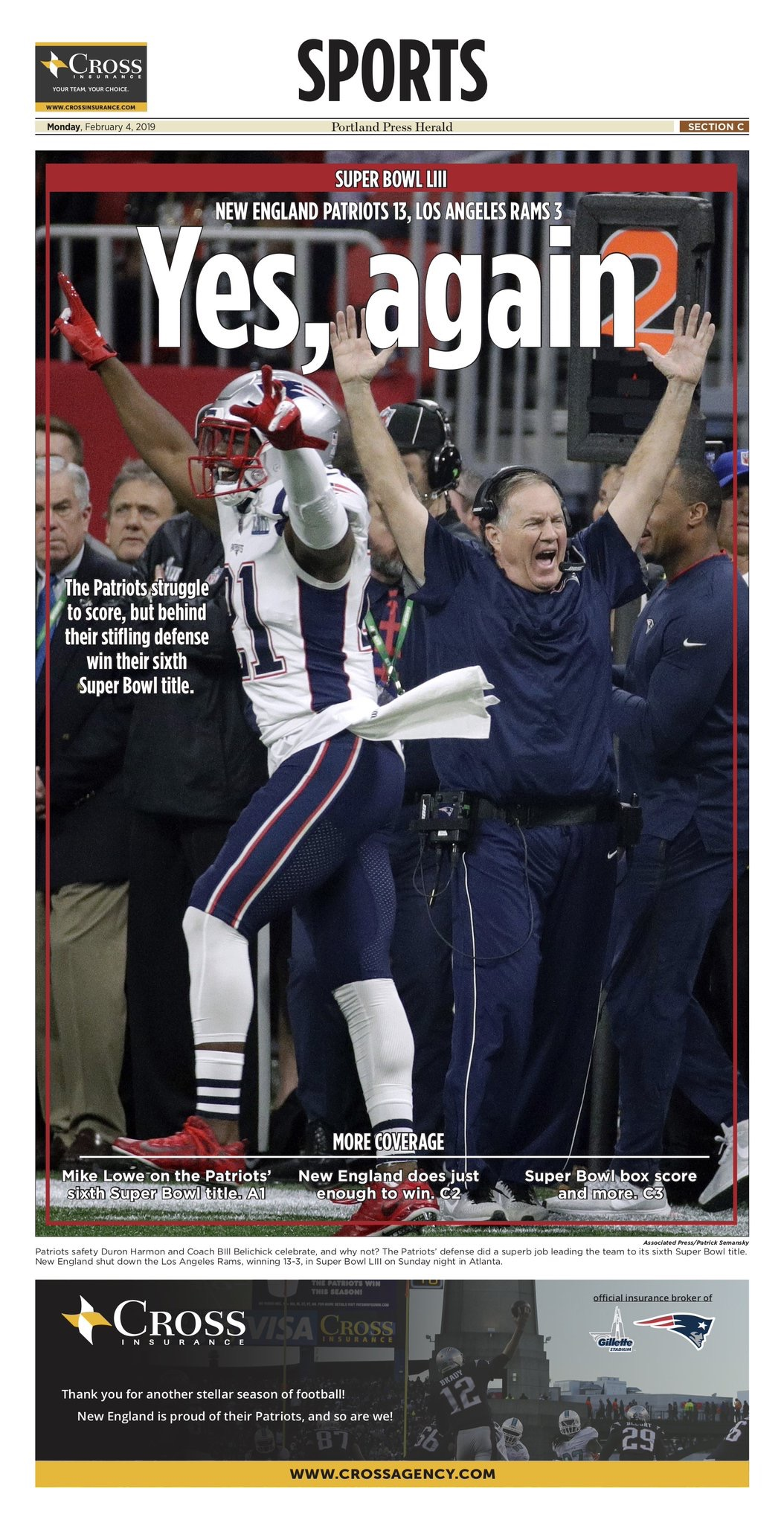 New England Patriots Win Super Bowl LIII – Sports Front Pages