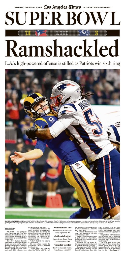 New England Patriots Win Super Bowl Liii Sports Front Pages